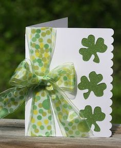 Why not use a gigantic bow on a card! i love the bow on this handmade St Patrick's Card. Glittery green paper hides behind the negative space from 3 shamrocks. Cool Cards, Diy Cards, St Patricks Day Cards, Saint Patricks, Holiday Cards, Christmas Cards, St Paddys Day, Scrapbook Cards, Scrapbooking Ideas