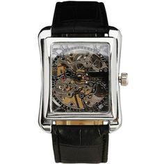 WINNER Retro Ladies Mechanical Watch Women Wristwatches Skeleton Rectangle Watches Leather Strap Gift +BOX
