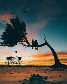 How lovely are Abdullah Evindar mixed media collages! In this series the artist combined silhouettes with nature and landscapes. Love Wallpapers Romantic, Beautiful Nature Wallpaper, Collage Foto, Photo Collages, Silhouette Painting, Silhouette Photo, Nature Artwork, Jolie Photo, Moon Art