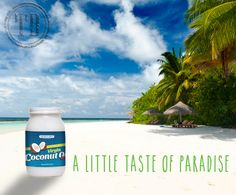coconut oil is awesome and reminds us of sunny, tropical days... #tropicsbest #organiccoconutoil #virgincoconutoil #coconutoil #coconutads #beach