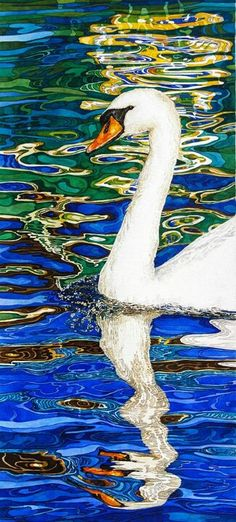 Reflection of a green and yellow canal boat Watercolor Bird, Watercolor Animals, Watercolor Portraits, Watercolor Paintings, Watercolors, Landscape Sketch, Landscape Paintings, Canal Boat Art, Water Art