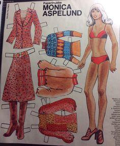 Paper doll Monica Aspelund, singer License Plate Art, Dress Up Dolls, Vintage Paper Dolls, Country Singers, Crafty Craft, Finland, Paper Crafts, Retro, Fun