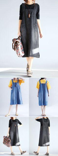 US$24.56 Casual Sleeveless Pockets Strap Denim Dress For Women