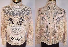 victorian look lace blouses   ... Antique Ecru Lace Pink Silk Rosette Trim Victorian Inspired Blouse Top