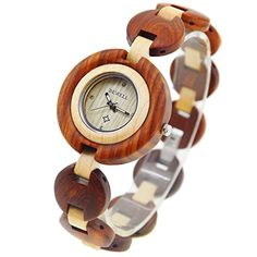 BEWELL Handmade Wooden Watch Ladies bracelet Watch Analog Quartz Wrist Watch with Round Case Casual – Wooden Watches Store