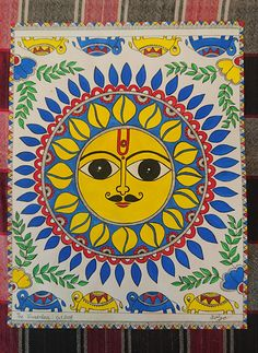 Items similar to madhubani painting, painting, madhubani art, madhubani sun painting on Etsy Madhubani Paintings Peacock, Madhubani Art, Indian Art Paintings, Abstract Paintings, Worli Painting, Kerala Mural Painting, Fabric Painting, Orchids Painting, Mandala Painting