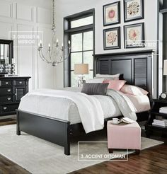 Discover the key pieces of a beautiful bedroom with our Belmar room break down. The bed's hardwood solids and veneers shuttered panels give off an cottage feel. A sleek black dresser adds storage. Finish with a pop of pink with an upholstered ottoman, an Queen Bedroom, Bedroom Sets, Dream Bedroom, Home Bedroom, Master Bedroom, Bedroom Decor, Bedroom Storage, Bedroom Inspo, Bedroom Furniture