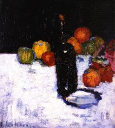 "Alexej Von Jawlensky (Russian), ""Still Life with Bottle and Apples"" Franz Marc, Paul Klee, Wassily Kandinsky, Apple Painting, Still Life Artists, Fruit Picture, Still Life Oil Painting, In Vino Veritas, Museum"
