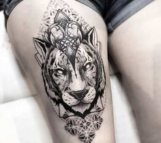 Black and grey Tiger with Mandala dotwork tattoo art by Otheser Tattoo