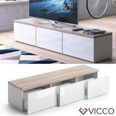 VICCO Lowboard PANARAI Weiß - Fernsehschrank Sideboard TV Regal Fernsehtisch   Möbel & Wohnen, Möbel, TV- & HiFi-Tische   eBay!
