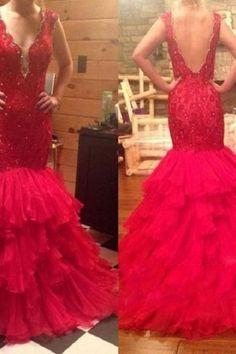 Backless Prom Dress,Beaded Prom Dress,Mermaid Prom Dress,Fashion Bridal Dress,Sexy Party Dress, New Style Evening Dress