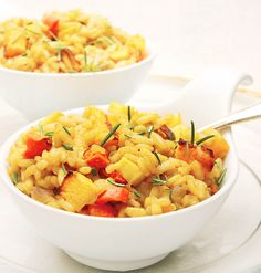 This creamy vegan risotto is creamy, delicious, and made colorful with roasted vegetables.