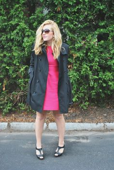 felicity smoak inspired fashion // pink dress // kate spade // trench coat // burberry // evening outfit | thoughtfulwish
