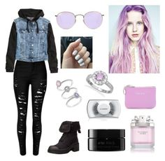 """""""jean jacket"""" by teenagepsychic on Polyvore featuring H&M, Marc by Marc Jacobs, arbū, Swarovski, Victoria's Secret, MAC Cosmetics, Rebecca Minkoff, BillyTheTree, Ray-Ban and women's clothing"""