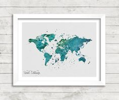 World Map Watercolor Print Green Map Art by VIVIDEDITIONS on Etsy