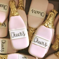 Cheers cookie favors for a Bubbly & Brunch bridal shower.