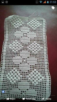 This Pin Was Discovered By Crochet Bedspread Pattern, Crotchet Patterns, Crochet Cushions, Crochet Art, Crochet Doilies, Crochet Hooks, Filet Crochet Charts, Crochet Borders, Crochet Table Runner