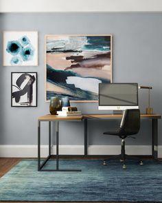 Moody pastel home office design idea