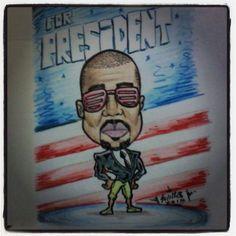 FOR PRESIDENT. marcador, creyón. #kanyewest #kanye #presidente #president #ilustración #draw #dibujo #sketch #design #diseño #caricatura #toon #comic #art #arte #artwork #instaart #sharpie #chebi #vma #vma2015 #kardashan #obama #trump #usa #caracas #Venezuela #soyellobo
