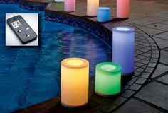 Light Illusions™ Color Changing White Outdoor LED Pillars – Remote Control Ready. Light Illusions™ Color Changing White Outdoor LED Pillars – Remote Control Ready Available in three sizes to enjoy indoors and out! Choose one color or cycle through hues of amber, blue, cyan, green, red, pink, purple, white. Auto on/off five or ten hour timer, candlelight flicker or constant light mode. Activate manually or with remote control, sold separately. Weather-resistant plastic resin.