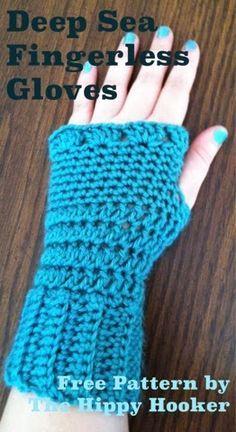The Hippy Hooker: Deep Sea Fingerless Gloves - Free Crochet Pattern