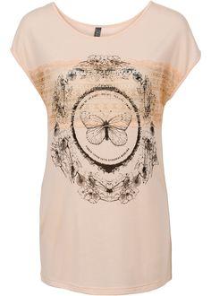 Süßes Shirt mit Häkeleinsatz und coolem Schmetterlings-Print, ideal zu kombinieren