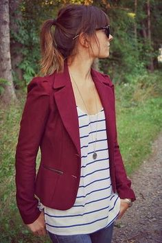 Striped Shirt and oxblood blazer