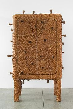 Campana Brothers Pirarucu Cabinet, 2013 Pirarucu's leather and straw covering wood structure 76.77 x 49.21 x 29.53 inches 195 x 125 x 75 cm Edition of 8