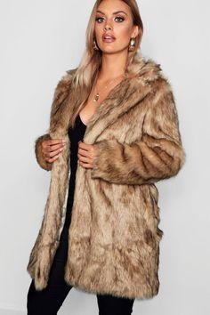 Womens Plus Long Faux Fur Coat - beige - 20 Beige Faux Fur Coat, Fox Fur Coat, Faux Fur Jacket, Padded Jacket, Fur Coats, Sweater Coats, Winter Coat, Plus Size Outfits, Cute Outfits