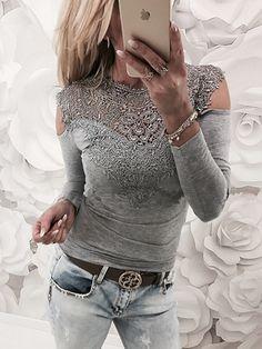 40124b7ec3 Gray Cold Shoulder Crochet Lace Panel Long Sleeve T-shirt Sexy Shirts