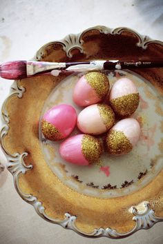 pink and gold . painted Easter eggs .