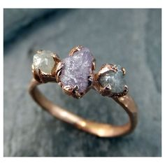Raw Pink Diamond Rose Gold Engagement Ring Wedding Ring Custom One Of... ($2,943) via Polyvore featuring jewelry, rings, rose gold wedding rings, gemstone rings, pink gemstone rings, rose gold diamond ring and gem engagement rings