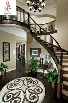 A stunning mosaic adjoins this graceful staircase. Residence Four – The Da Vinci… A stunning mosaic adjoins this graceful staircase. Residence Four – The Da Vinci Plan, a new home crafted by Crystal Ridge Homes. Foyer Staircase, Curved Staircase, Staircase Design, Staircases, Interior Staircase, Dream Home Design, My Dream Home, House Design, Tuscan Decorating