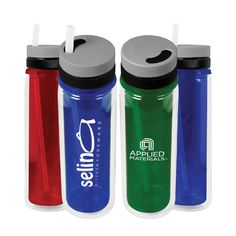 """The Aria Tritan TM) water bottle features a twist lid spout release for convenience. The specially designed lid protects the spout from dirt and debris when not in use. 100% BPA free, 24 ounce water bottle is made out of Tritan (TM) copolyester, which provides high impact resistance, and won't stain or retain odors. Hand wash only, do not place in dishwasher. Size: 10 1/4"""" tall."""