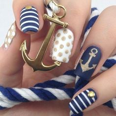 Anchor nails, August nails, August nails 2016, Beach nails, July nails, July nails 2016, Marine nails, Nail art stripes