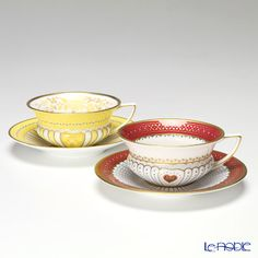 Wedgwood (Wedgwood) Queen of Hearts & Yellow Ribbon cup and saucer pair