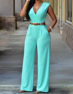 Sky Blue Sleeveless Casual Jumpsuit Long Pants Rompers For Women - XL Rompers Women, Jumpsuits For Women, Fashion Jumpsuits, Romper Long Pants, Pant Romper Outfit, Red Romper, White Romper, Long Shorts, Denim Playsuit