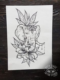 Elephant tattoo on sketch (on paper) blackwork by Tatyana Ta.- Elephant tattoo on sketch (on paper) blackwork by Tatyana Tatur - Mandala Elephant Tattoo, Elephant Tattoo Design, Elephant Tattoos, Mandala Tattoo, Animal Tattoos, Elephant Design, Animal Drawings, Cute Drawings, Tattoo Drawings