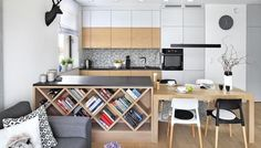 Modern living room with kitchenette: ideas of rational use of space 15 square meters. m Kitchen Decoration - Living Room Kitchen, Living Room Modern, Kitchen Decor, Kitchen Design, Open Plan Apartment, Small Apartment Interior, Condo Design, Interior Exterior, Interiores Design