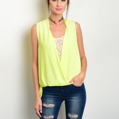 Bright Sunny Yellow Blouse Pop with this Bright Sunny Yellow Sleeveless Woven Blouse! Features a draped wrapped front, bubble hem, deep keyhole back, and a sexy lace insert on front! 100% Polyester   Sizes Available: S,M,L  *Please do not purchase this listing, I will create a new one with your size* Thank you, Xo Tops Blouses