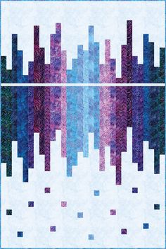 Skyline Reflected designed by Hunter's Design Studio. Features Artisan Batiks: Natural Formations by Lunn Studios, shipping to stores April Two colorways (Rain, Ocean). Pattern available for purchase (huntersdesignstud…) Bargello Quilt Patterns, Bargello Quilts, Jelly Roll Quilt Patterns, Batik Quilts, Modern Quilt Patterns, Lap Quilts, Jellyroll Quilts, Strip Quilts, Quilt Patterns Free