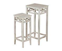 WHITE DECO: Set de 2 pedestales en madera de mango – blanco