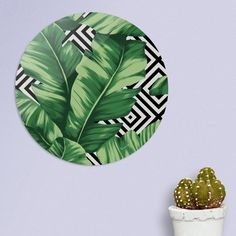 Discover «Banana leaf», Exclusive Edition Disk Print by Paola Morpheus  #pictures #interiordesign #bedroom #bathroom #dinningroom #bananaleaf #summer #dress #dresses #design #moda #moda2017 #summer2017 #geometric #geometria #foglie #banana #leaf #cameradaletto #arredo #arredamento #green #bio #flower #fiori #piante #natura #nature #plant #deco #idee #ideegreen #wedding #gif #buy #paolamorpheus #artist #living #room #livingroom #italy #beauty #house #housesweethouse #spring #b/n #garden