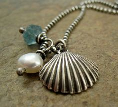 Sterling Silver Clam Seashell Necklace Beach Jewelry by organikx, $56.00