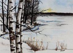 """Original Watercolor Painting- Birch Tree Painting"" - Original Fine Art for Sale - © James Lagasse"