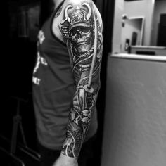 Grey Horned Skull Japanese Sleeve Tattoo More