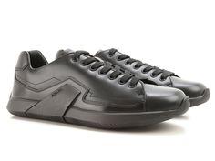 Prada men's sneakers in black Shiny calf leather - Italian Boutique €329