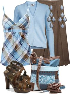 """""""blue sky and chocolate"""" by sagramora ❤ liked on Polyvore"""