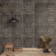 The Castile ceramic floor and wall tile in green mimics the appearance of oxidized metallic pressed tin tiles. These black tiles feature a worn, distressed appearance offering the look of aged tile. Tin Tiles, Tin Ceiling Tiles, Wall And Floor Tiles, Wall Tiles, Genius Ideas, Tuile, Glazed Ceramic, Tile Patterns, Home Decor