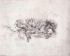 Leonardo Da Vinci-Group of riders in the Battle of Anghiari